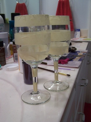 Wine glasses & masking tape